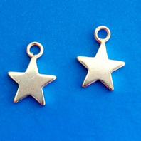 5 Sterling Silver Star Charms 8mm Pendants